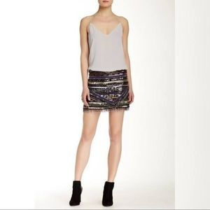 PARKER Black Label All-Over Beaded Mini Skirt Sz 6